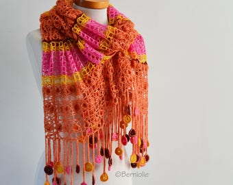 Crochet shawl, orange, pink, yellow, Q550