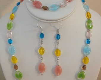 Colorful Beaded Necklace , Bracelet and Earring Set