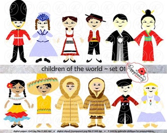 Children of the World (Set 01) Digital Clip Art: England Italy Japan Mexico Arctic Eskimo Holland Teaching Travel Clipart