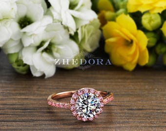 2.50 CT PinK Engagement Ring in 14k/18k Rose Gold , Halo Engagement Ring, White Sapphire Ring, Moissanite Engagement Ring, Birthstone Ring