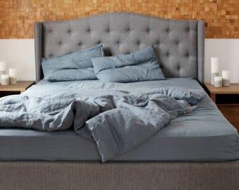 Leinen Bettbezug. Natürliche Bettwäsche Grau Blau. Geschenk Leinen. Flachs  Bettwäsche.