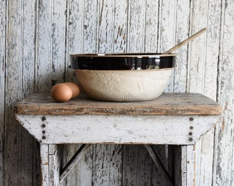 Antique Stoneware Bowl, Vintage Cook Rite Crockery Mixing Bowl, Farmhouse Kitchen, Cottage Decor