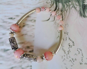 Morganite bracelet,Zodiac bracelet,Zen bracelet,Gift for Her,Pink bracelet