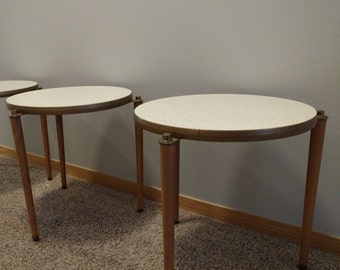 Set Of 2 Vintage Mid Century Modern Stacking Tables With 3 Tapered Wood  Legs And White Formica Table Tops Speckled Gold