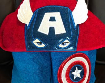 Captain America inspired hooded towel pool/bath/beach, kids or adult sizes, perfect gift for any occasion