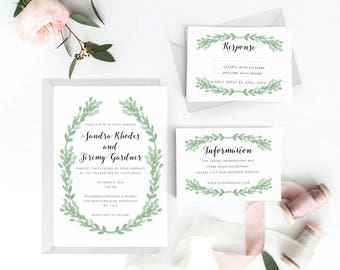 Botanical Wedding Invitation Suite, Wedding Invitation Printable, Invitation Set, Wedding Invitation Rustic, Letter or A4 (Item code: P762)