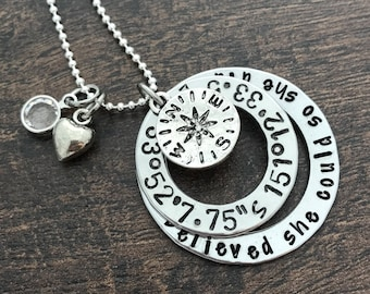 She believed she could so she did Necklace. Traveling gift. Moving Away gift. Coordinates Necklace. Compass necklace. Inspirational quote.