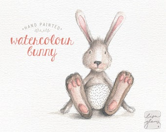 Watercolor bunny rabbit: animal clipart / bunny print / whimsical clip art / commercial use / nursery art / children decor / CM0076-bunny