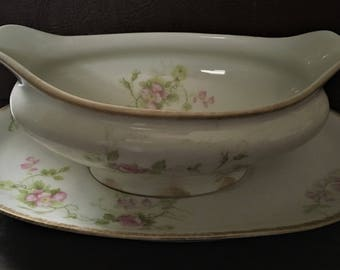 Antique Limoges CH Field Haviland Gravy Boat and Underplate Set