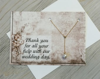 Wedding Day Card - Thank You Card - Appreciation Card -  Help With My Wedding Day - Love Necklace
