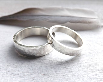silver wedding band set hammered, matching rings for him her, his hers promise rings, matching wedding rings silver, rustic commitment rings