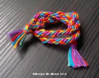 Vivid Rainbow Braided Cord, Cotton Kumihimo Braid, 3mm Cord, Woven Friendship Bracelet, 7 Strand Round Braid Rope, Japanese Braid,Braid,Yarn