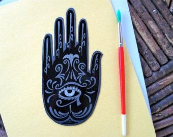 Mehndi Hand With Eye : Henna mehndi hand magnet eye of horus moon