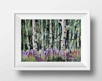 Birch Tree Print, Birch Trees, Colorful Print, Modern Landscape Art, Tree Print, Birches, Summer Print,  Fall Colors, Lavender, Green,
