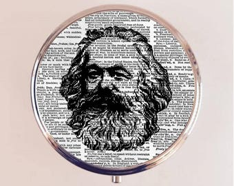 Karl Marx Pill Box Case Pillbox Holder Trinket Stash Box Communist Communism Philosopher Socialism