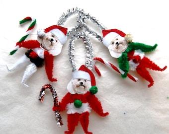 Bichon Frise Chenille Vintage Style Christmas Ornaments, Santa Dog Ornaments  (138)