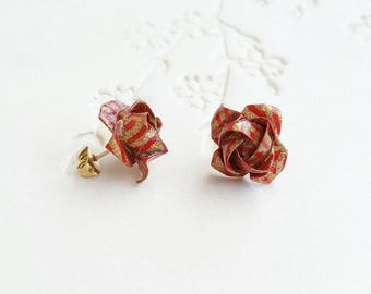Origami Jewelry - Japanese Origami Rose Earrings with Plated Gold Studs No.03474