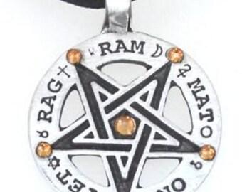 Pewter Inverted Pentagram Tetragrammaton Runes Pendant with Swarovski Crystal Gold Topaz NOVEMBER Birthstones (55C)