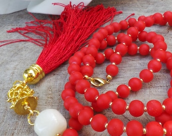 Long beaded tassel necklace. Red beaded tassel necklace. Long beaded necklace. Bohemian tassel necklace. Red and gold necklace.