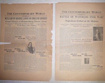 2 Vintage Newspapers The Contemporary World 1688,1815. Clara Dentler. Old World Europe, America, politics, royalty, presidents, fashion,wars