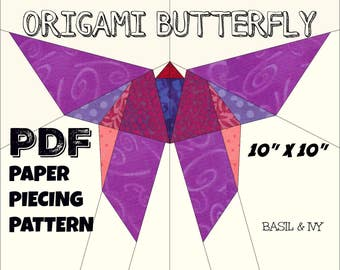 Origami Butterfly. PDF pattern for paper piecing. Quilt block.