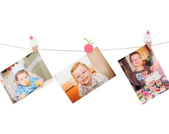 Ice Cream Photo Clips / Ice Cream Party Photo Banner  / Ice Cream Party / Ice Cream Birthday Banner / Ice Cream Cherry Photo Banner /