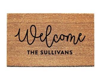 WELCOME Last Name Doormat - Door Mat - Custom Doormat - Personalized Doormat - Personalised Doormat - Gift for Married Couple - Custom Mat