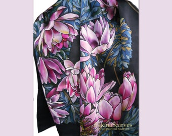 Hand Painted Silk Scarf pink black Magenta Raspberry Water Lilies Floral Luxury Unique Women Mothers day Gift Elegant Luxury painting FS 133