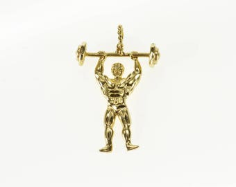 k Diamond Cut High Relief Strong Man Weight Lifter Charm/Pendant Gold