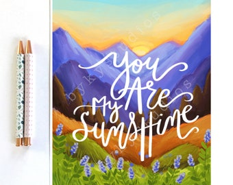 Landscape Illustration Song Lyrics Quote Wall Art Print 'You are my Sunshine' Home Decor 8 x 10