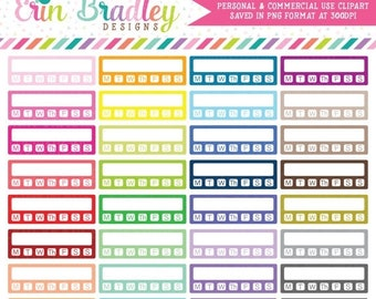 80% OFF SALE Clipart - Habit Tracker with Days Planner Clip Art Graphics Personal & Commercial Use OK