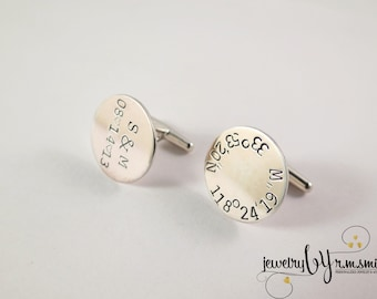 Personalized Coordinates Cufflinks with Gift Box - Longitude and Latitude - Engraved - Personalized Jewelry - Mens - Dad - Father - Groom