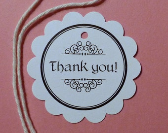 25 flower tags thank you tags clothing hang tags gift tags scalloped tags price tags circle tags white tags merchandise tags craft supplies