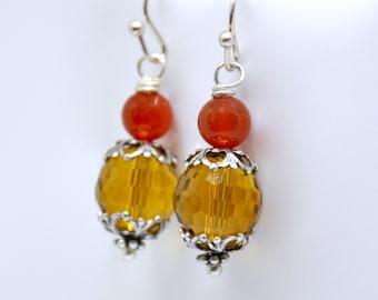 Yellow Earrings, Carnelian Earrings, Antique Silver Earrings, Orange Earrings, Yellow Bead Earrings, Gemstone Earrings, Carnelian Jewelry