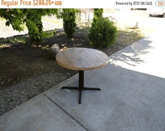 Limited Time Sale 10% OFF Authentic Round Old Reclaimed Barnwood Restaurant Pedestal Dining Table