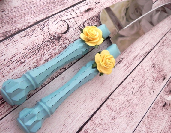 Shabby Chic Wedding Cake Server And Knife Set, Robin Egg Blue with Yellow Rose, Bridal Shower Gift, Wedding Gift