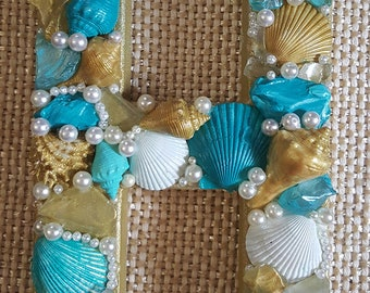Seashell Letter Beach Decor- Beach Wedding- Gift-Coastal Decor- Mermaid Treasure