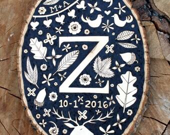 Woodburned Monogram Plaque - Custom/Made-To-Order  - Wedding/Anniversary/Baby Gift