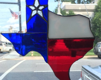 State of Texas Stained Glass Lone Star Suncatcher