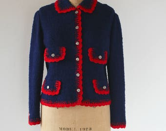 vintage 1960s sweater / 60s navy cardigan / 1960s made in Portugal sweater / navy red trim sweater / Custodia / Large XL plus size