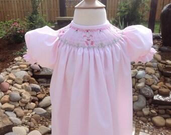 Handsmocked Bishop Easter Dress // Pink Easter Bishop // Easter Bunny Bishop // Spring Bishop Dress // Easter Dress // Girls Easter Dress