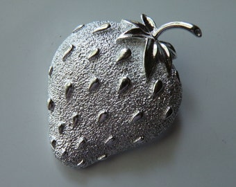 On Sale Sarah Coventry strawberry pin, brooch. Silver plated.