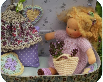 "Play set. Little doll 6""  with bedding set in her suitcase. Waldorf inspired doll . Pocket doll. Miniture doll"