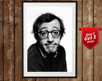 Woody Allen Portrait, Woody Allen Poster, Woody Allen Funny, Woody Allen Print, Black White, Movie Director, Hollywood, New York, confused