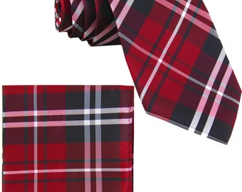 Men's Plaid Black Red White Regular Necktie and Handkerchief, for Formal Occasions