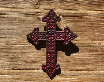 Red pink wash  painted  iron Cross  - Wall Cross Decor -  Iron Cross  - Rustic Cross - hand painted  Cross  - Shabby Chic.