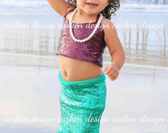 mermaid top party mermaid halloween costume shirt halter sequin mermaid crop top tank top shirt READY TO SHIP birthday costume baby toddler