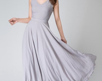 Chiffon dress, grey chiffon dress, dresses for women, sleeveless dress, bridesmaid dress, maxi dress,  summer dress, Prom dress (1525)