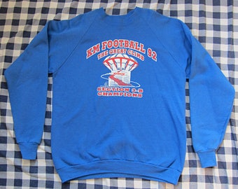 XXL 90s Football Raglan Sleeve Crew Neck Sweatshirt / Royal Blue, Fruit of the Loom, Minnesota MN, 2X XX-Large, Crewneck
