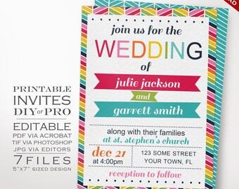 Wedding Invitation Template - Rainbow Wedding Invitation - Printable DIY Rainbow Chevron Wedding Invitation Editable Bright Wedding Invite